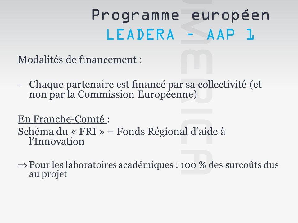 Modalités de financement : -Chaque partenaire est financé par sa collectivité (et non par la Commission Européenne) En Franche-Comté : Schéma du « FRI