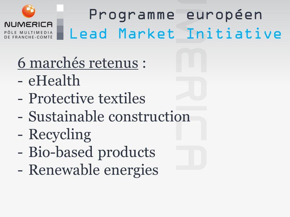 6 marchés retenus : -eHealth -Protective textiles -Sustainable construction -Recycling -Bio-based products -Renewable energies Programme européen Lead