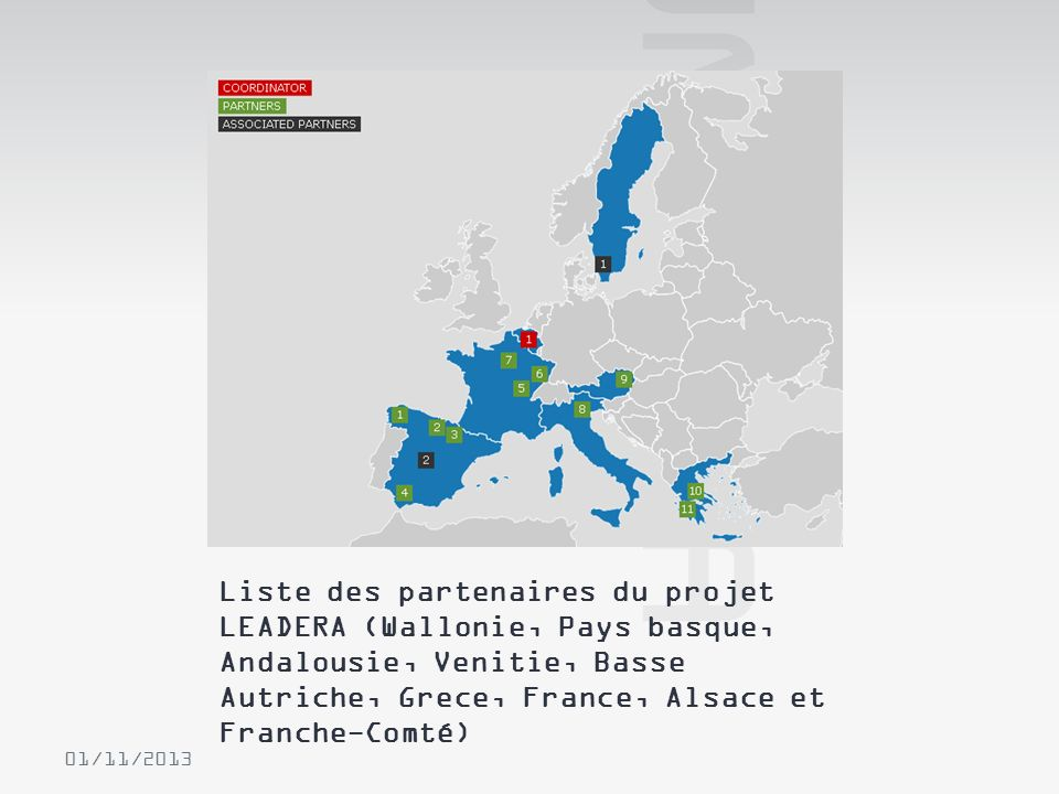 Liste des partenaires du projet LEADERA (Wallonie, Pays basque, Andalousie, Venitie, Basse Autriche, Grece, France, Alsace et Franche-Comté) 01/11/201