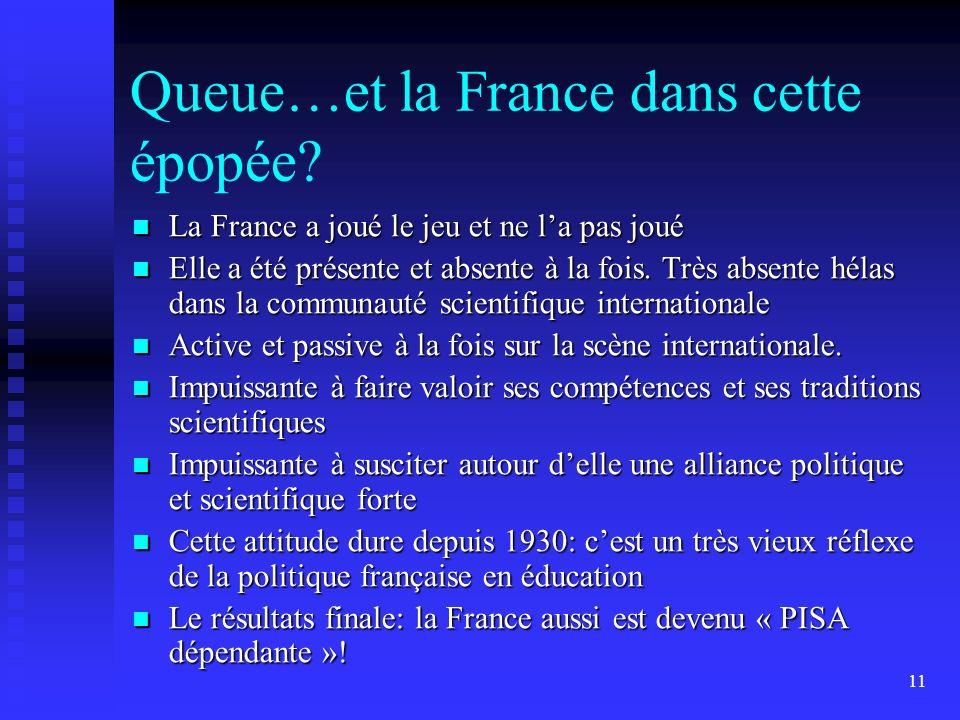 11 Queue…et la France dans cette épopée? La France a joué le jeu et ne la pas joué La France a joué le jeu et ne la pas joué Elle a été présente et ab