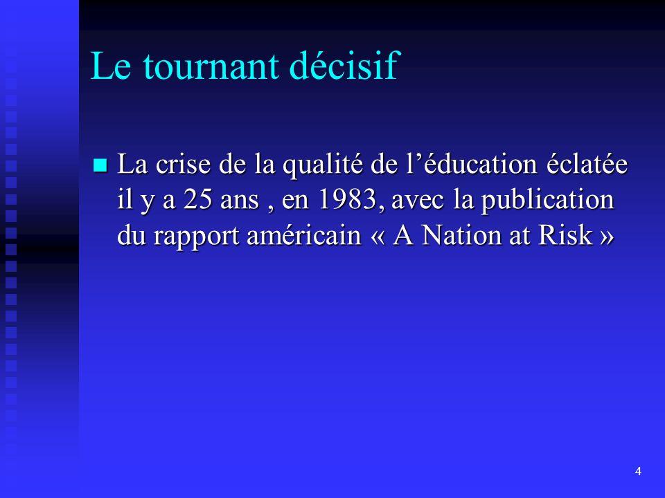 4 Le tournant décisif La crise de la qualité de léducation éclatée il y a 25 ans, en 1983, avec la publication du rapport américain « A Nation at Risk