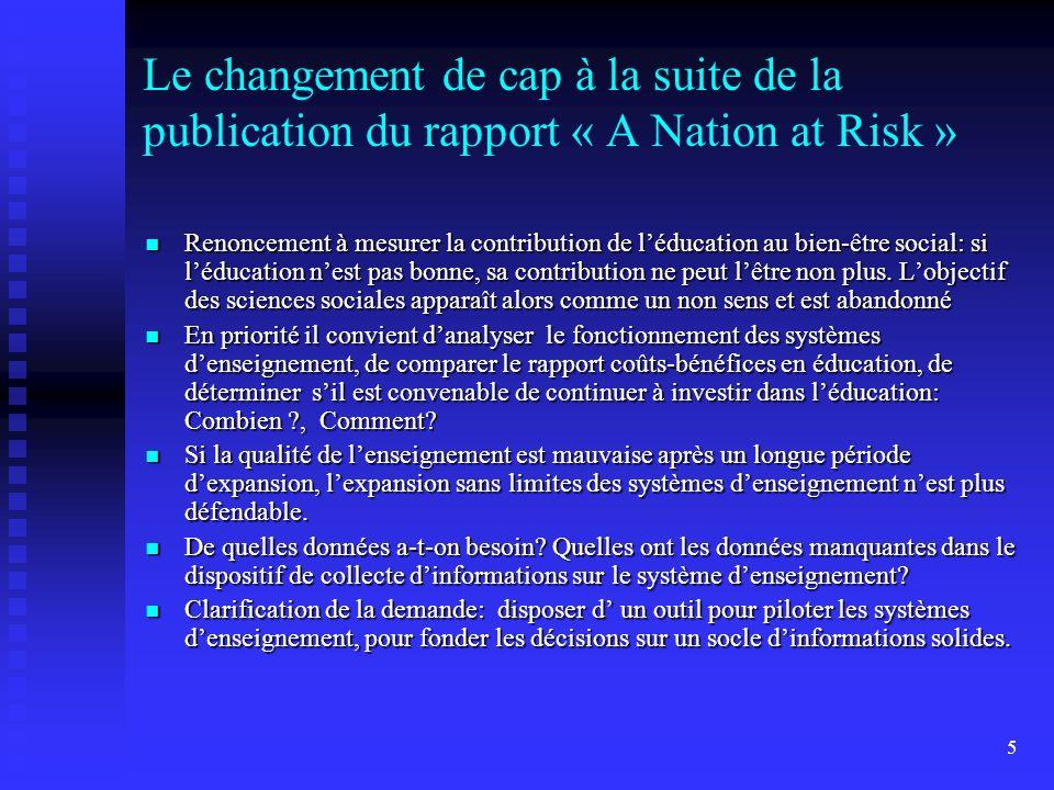 5 Le changement de cap à la suite de la publication du rapport « A Nation at Risk » Renoncement à mesurer la contribution de léducation au bien-être s
