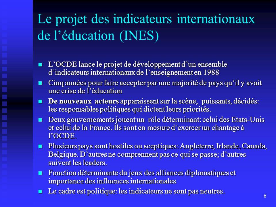 6 Le projet des indicateurs internationaux de léducation (INES) LOCDE lance le projet de développement dun ensemble dindicateurs internationaux de len