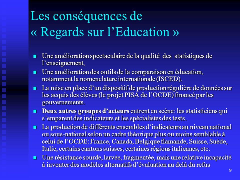 9 Les conséquences de « Regards sur lEducation » Une amélioration spectaculaire de la qualité des statistiques de lenseignement, Une amélioration spec