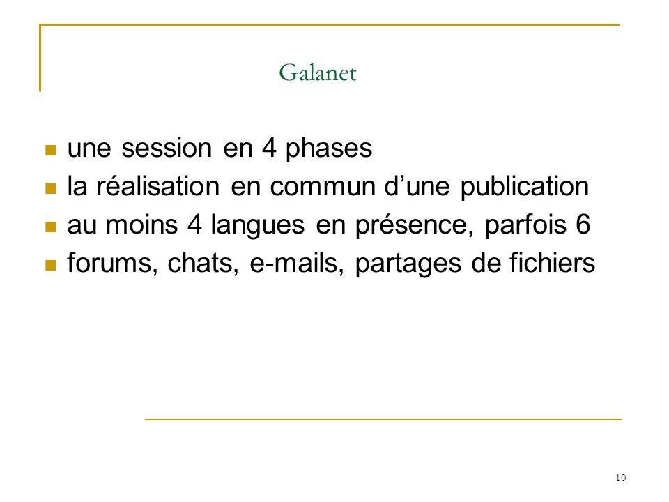 10 Galanet une session en 4 phases la réalisation en commun dune publication au moins 4 langues en présence, parfois 6 forums, chats, e-mails, partage