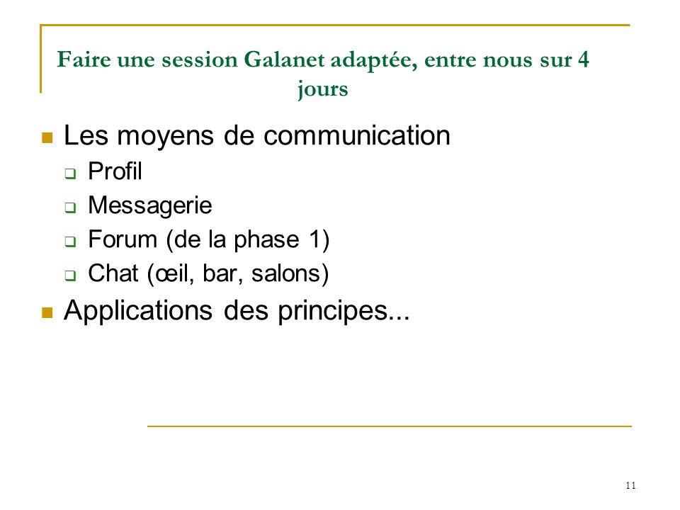 11 Faire une session Galanet adaptée, entre nous sur 4 jours Les moyens de communication Profil Messagerie Forum (de la phase 1) Chat (œil, bar, salon