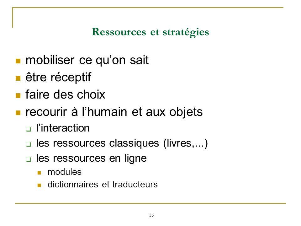 16 Ressources et stratégies mobiliser ce quon sait être réceptif faire des choix recourir à lhumain et aux objets linteraction les ressources classiqu