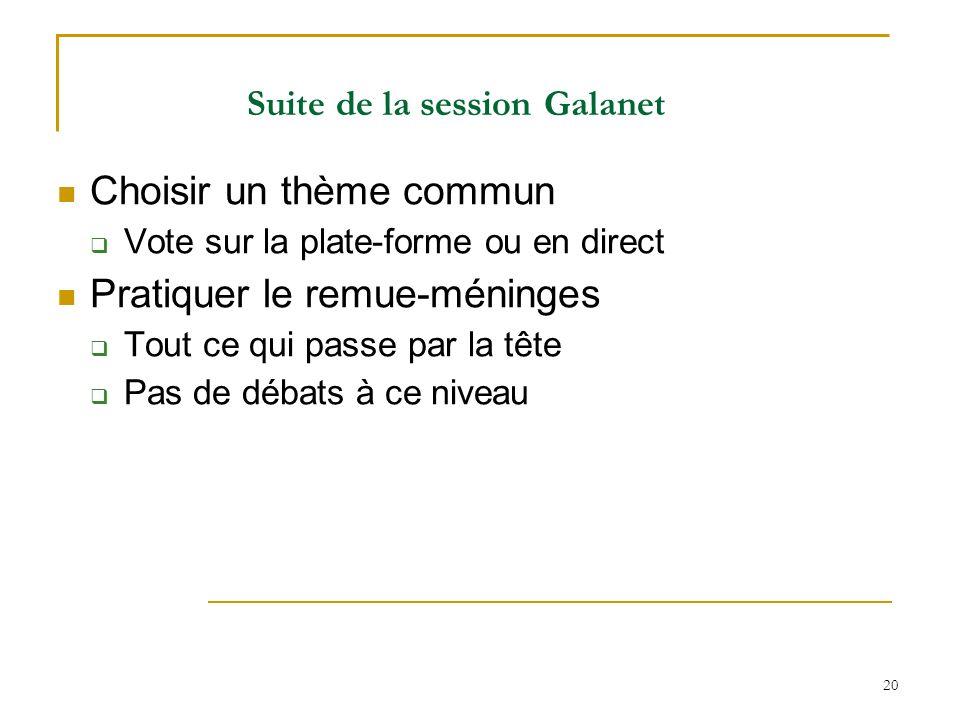20 Suite de la session Galanet Choisir un thème commun Vote sur la plate-forme ou en direct Pratiquer le remue-méninges Tout ce qui passe par la tête