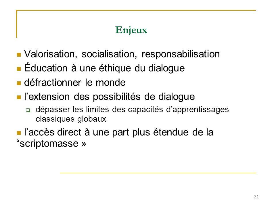 22 Enjeux Valorisation, socialisation, responsabilisation Éducation à une éthique du dialogue défractionner le monde lextension des possibilités de di