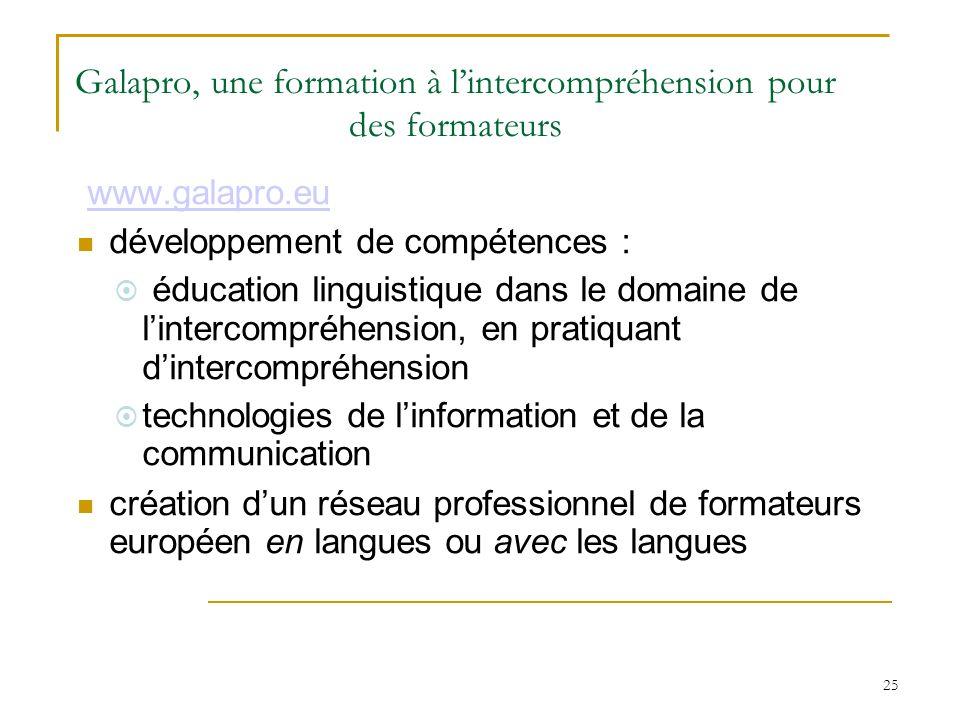 25 www.galapro.eu développement de compétences : éducation linguistique dans le domaine de lintercompréhension, en pratiquant dintercompréhension tech