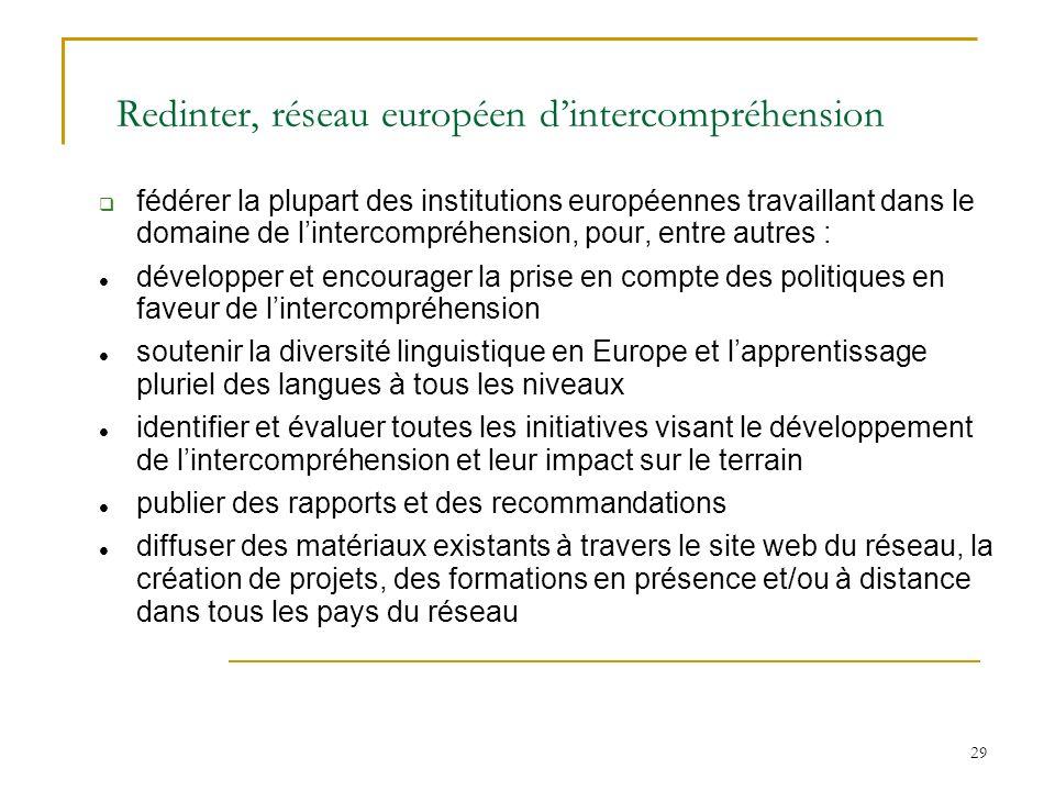 29 Redinter, réseau européen dintercompréhension fédérer la plupart des institutions européennes travaillant dans le domaine de lintercompréhension, p