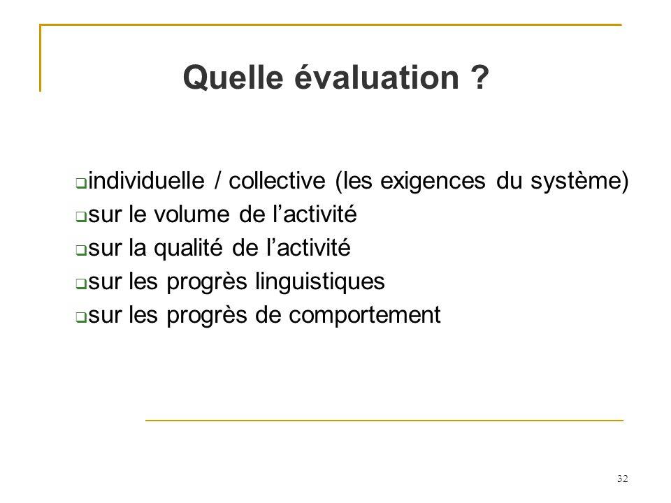 32 Quelle évaluation ? individuelle / collective (les exigences du système) sur le volume de lactivité sur la qualité de lactivité sur les progrès lin