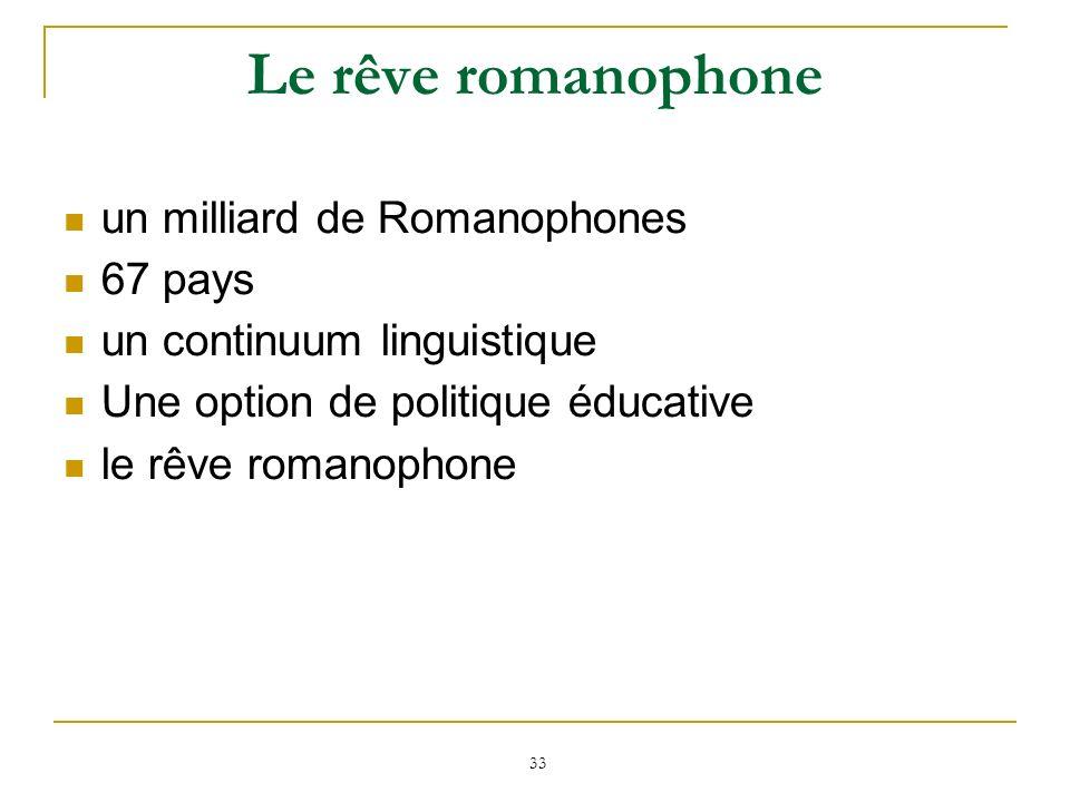 33 Le rêve romanophone un milliard de Romanophones 67 pays un continuum linguistique Une option de politique éducative le rêve romanophone