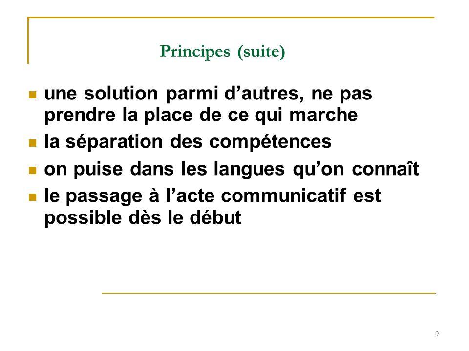 9 Principes (suite) une solution parmi dautres, ne pas prendre la place de ce qui marche la séparation des compétences on puise dans les langues quon