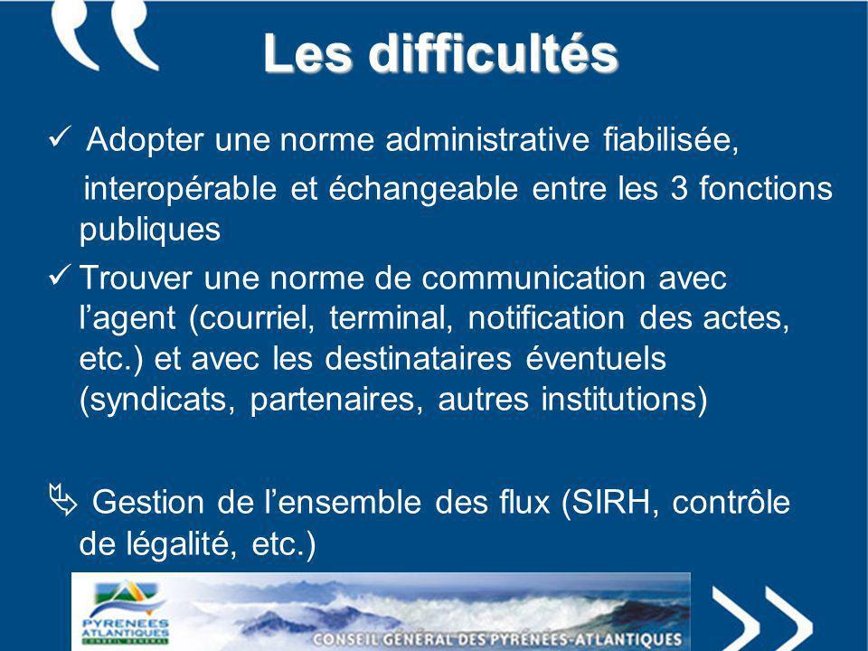 Les difficultés Adopter une norme administrative fiabilisée, interopérable et échangeable entre les 3 fonctions publiques Trouver une norme de communi