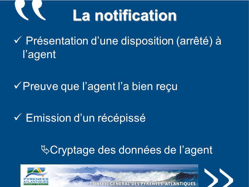 La notification Présentation dune disposition (arrêté) à lagent Preuve que lagent la bien reçu Emission dun récépissé Cryptage des données de lagent