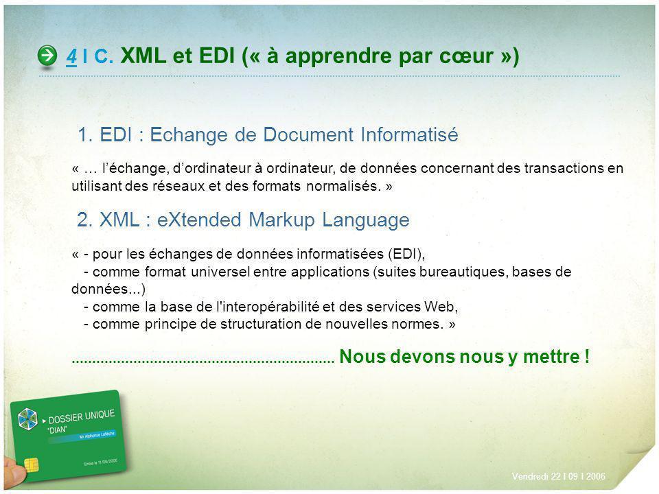 4 I C. XML et EDI (« à apprendre par cœur ») Vendredi 22 I 09 I 2006 1. EDI : Echange de Document Informatisé « … léchange, dordinateur à ordinateur,