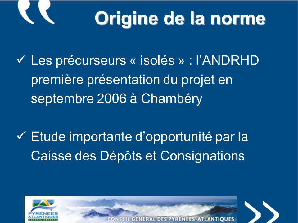 Origine de la norme Les précurseurs « isolés » : lANDRHD première présentation du projet en septembre 2006 à Chambéry Etude importante dopportunité pa
