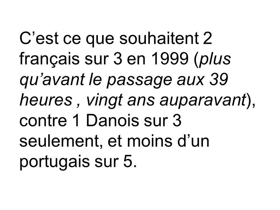 Cest ce que souhaitent 2 français sur 3 en 1999 (plus quavant le passage aux 39 heures, vingt ans auparavant), contre 1 Danois sur 3 seulement, et moi