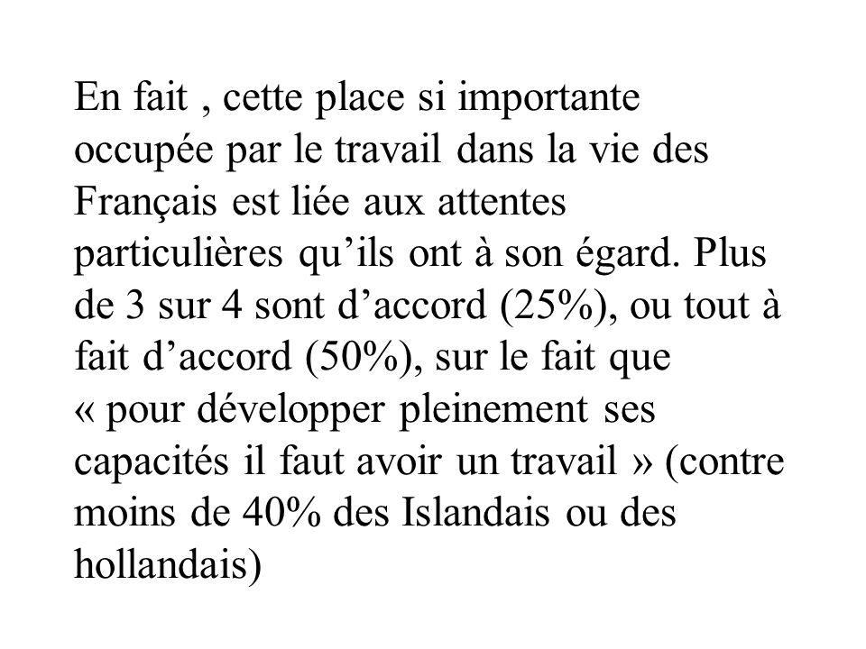 En fait, cette place si importante occupée par le travail dans la vie des Français est liée aux attentes particulières quils ont à son égard. Plus de