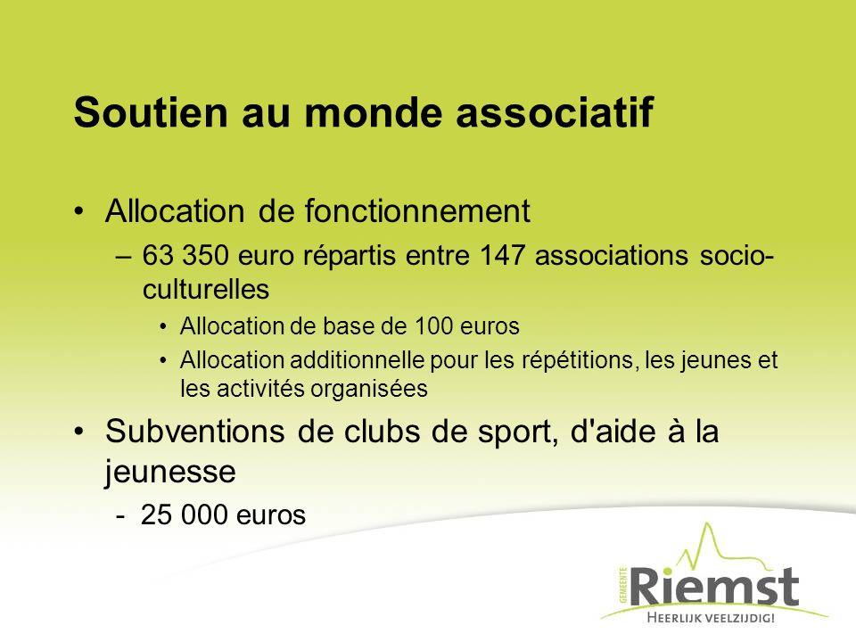 Soutien au monde associatif Allocation de fonctionnement –63 350 euro répartis entre 147 associations socio- culturelles Allocation de base de 100 eur