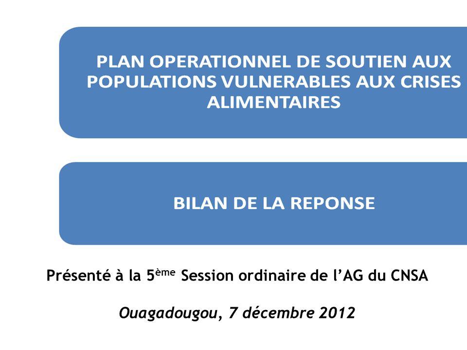 Présenté à la 5 ème Session ordinaire de lAG du CNSA Ouagadougou, 7 décembre 2012