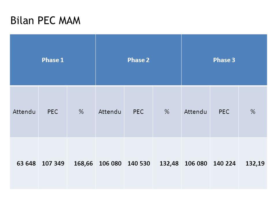 Bilan PEC MAM Phase 1Phase 2Phase 3 AttenduPEC%AttenduPEC%AttenduPEC% 63 648107 349168,66106 080140 530132,48106 080140 224132,19