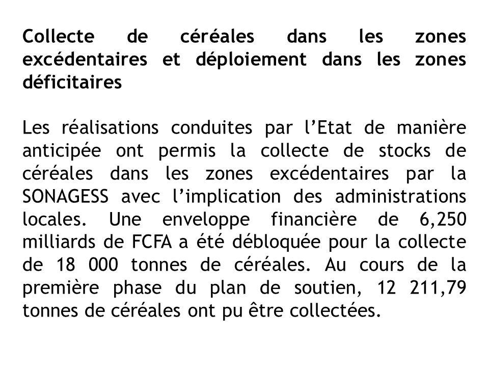 Collecte de céréales dans les zones excédentaires et déploiement dans les zones déficitaires Les réalisations conduites par lEtat de manière anticipée