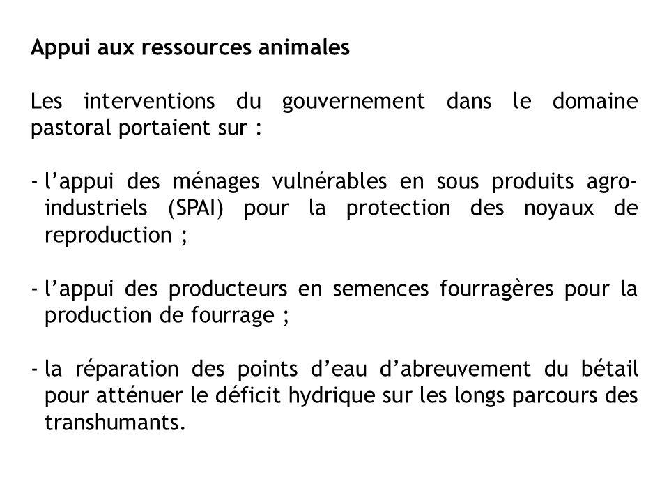 Appui aux ressources animales Les interventions du gouvernement dans le domaine pastoral portaient sur : -lappui des ménages vulnérables en sous produ
