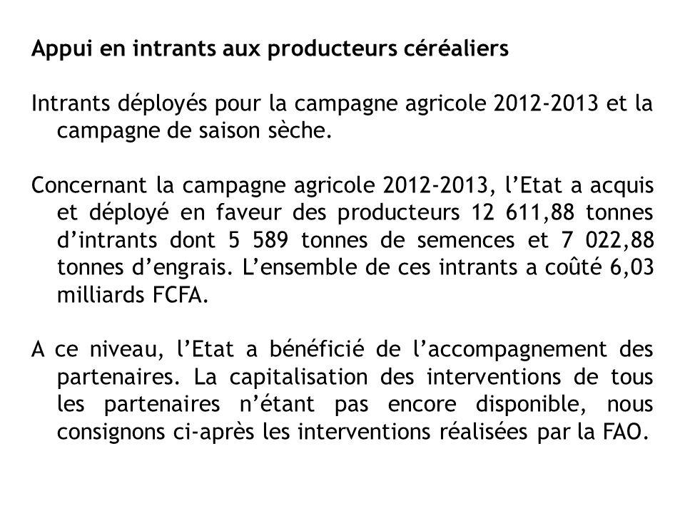 Appui en intrants aux producteurs céréaliers Intrants déployés pour la campagne agricole 2012-2013 et la campagne de saison sèche. Concernant la campa
