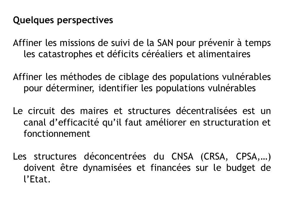 Quelques perspectives Affiner les missions de suivi de la SAN pour prévenir à temps les catastrophes et déficits céréaliers et alimentaires Affiner le