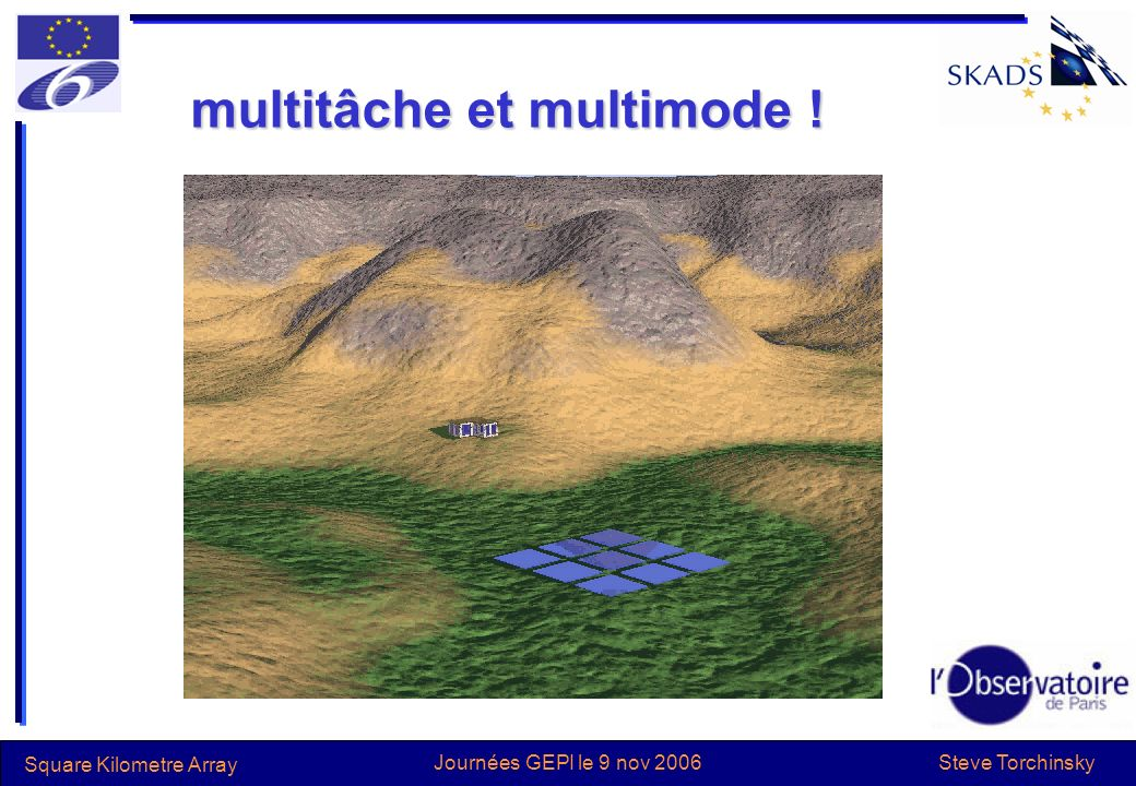 Steve Torchinsky Square Kilometre Array Journées GEPI le 9 nov 2006 multitâche et multimode !