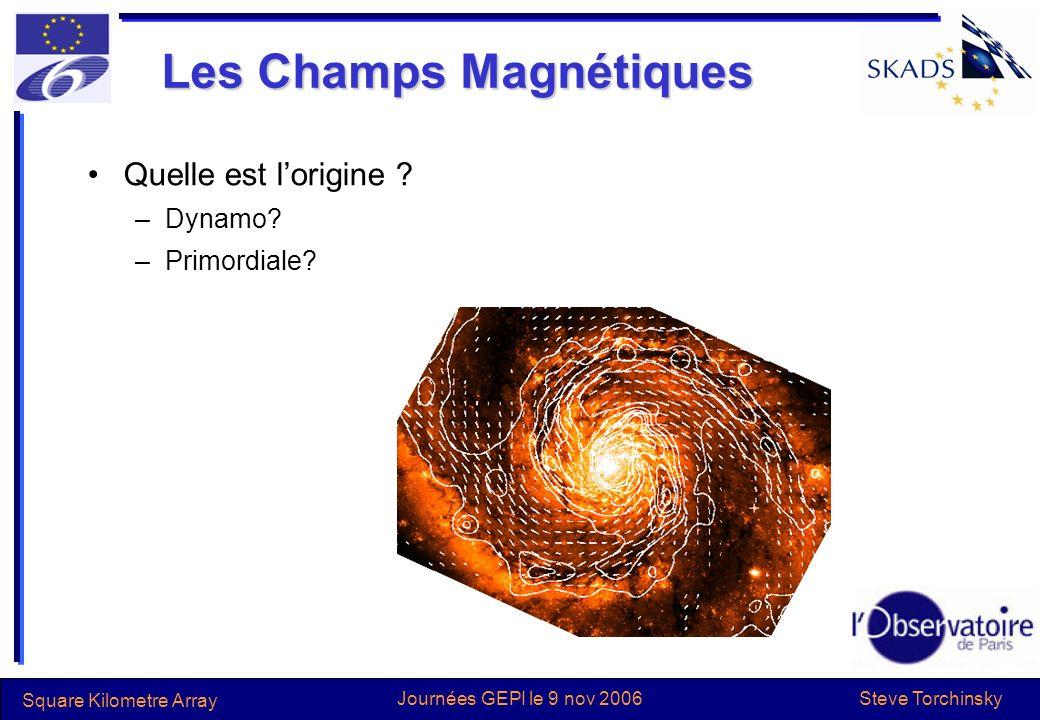 Steve Torchinsky Square Kilometre Array Journées GEPI le 9 nov 2006 Les Champs Magnétiques Quelle est lorigine ? –Dynamo? –Primordiale?