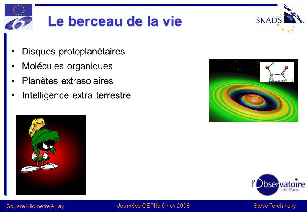 Steve Torchinsky Square Kilometre Array Journées GEPI le 9 nov 2006 Le berceau de la vie Disques protoplanétaires Molécules organiques Planètes extrasolaires Intelligence extra terrestre