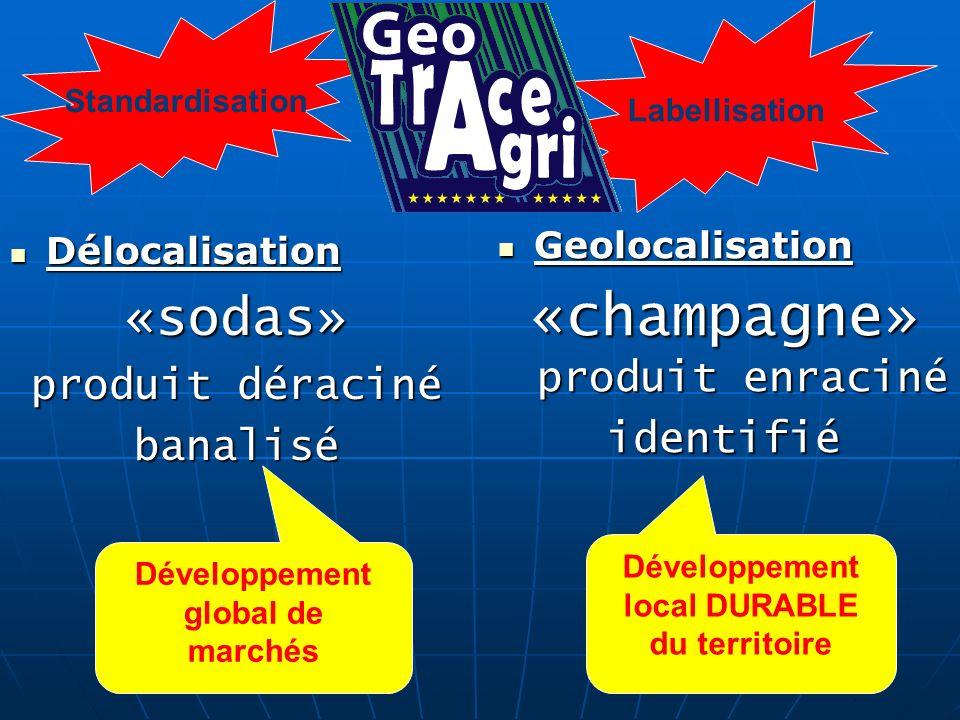 Délocalisation Délocalisation«sodas» produit déraciné banalisé Geolocalisation Geolocalisation «champagne» produit enraciné identifié Développement gl