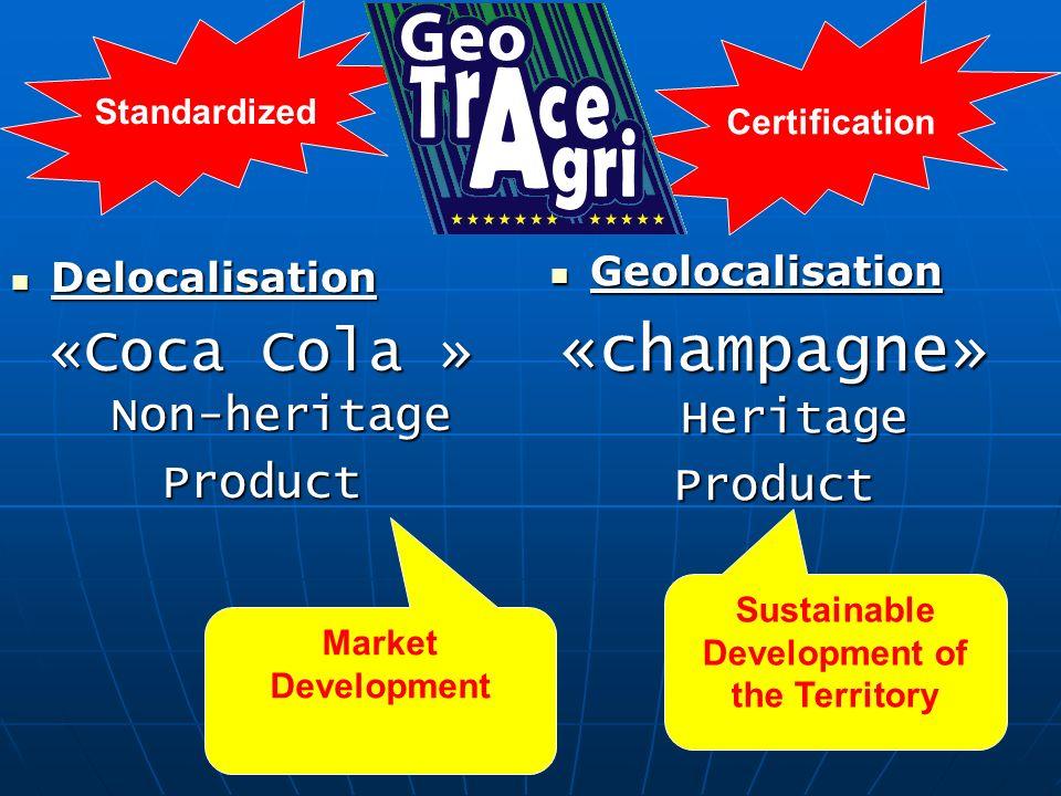 Delocalisation Delocalisation «Coca Cola » Non-heritage Product Geolocalisation Geolocalisation «champagne» Heritage Product Market Development Sustai