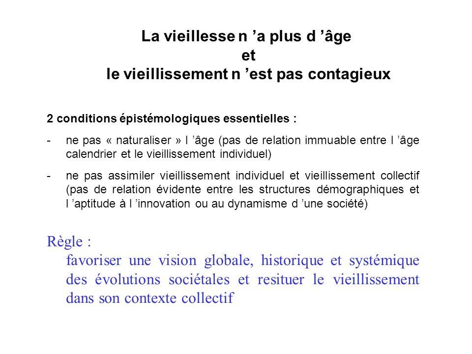 La vieillesse n a plus d âge et le vieillissement n est pas contagieux 2 conditions épistémologiques essentielles : -ne pas « naturaliser » l âge (pas