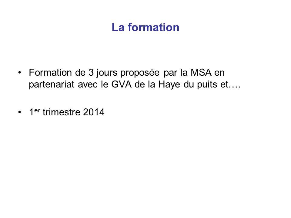 La formation Formation de 3 jours proposée par la MSA en partenariat avec le GVA de la Haye du puits et…. 1 er trimestre 2014