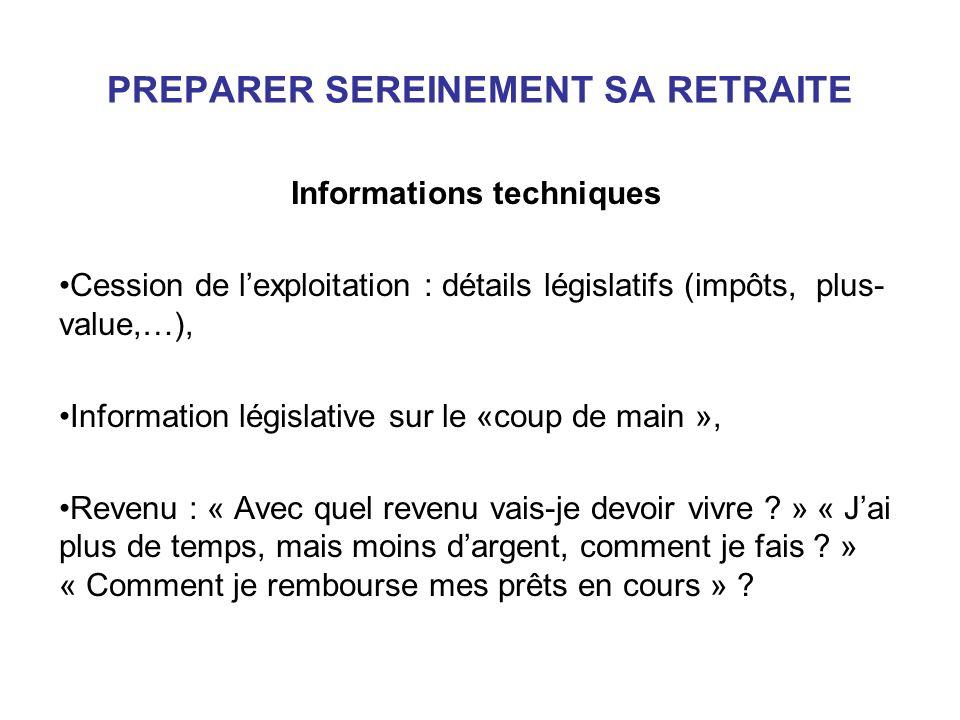 PREPARER SEREINEMENT SA RETRAITE Informations techniques Cession de lexploitation : détails législatifs (impôts, plus- value,…), Information législati