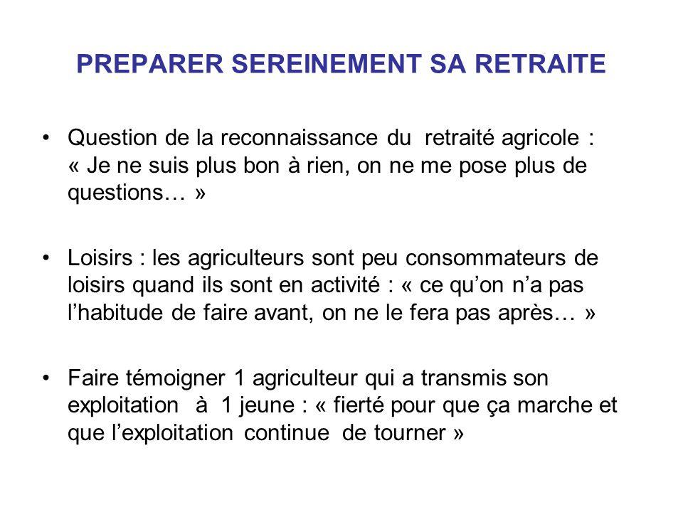 PREPARER SEREINEMENT SA RETRAITE Question de la reconnaissance du retraité agricole : « Je ne suis plus bon à rien, on ne me pose plus de questions… »