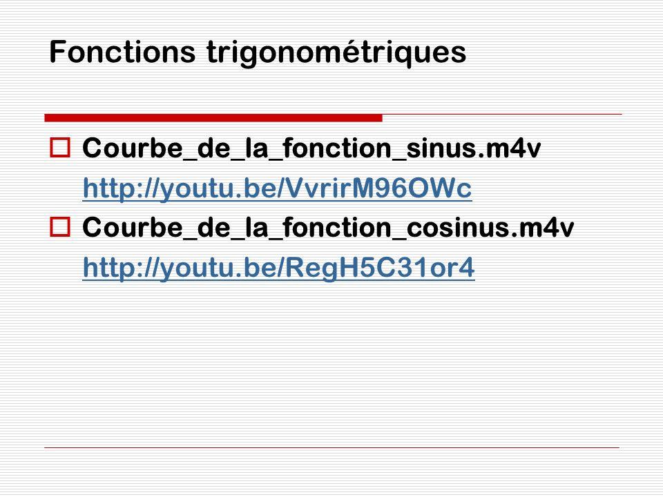 Fonctions trigonométriques Courbe_de_la_fonction_sinus.m4v http://youtu.be/VvrirM96OWc Courbe_de_la_fonction_cosinus.m4v http://youtu.be/RegH5C31or4