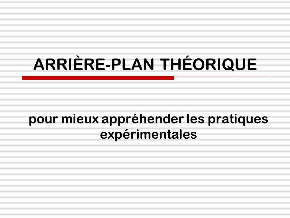 ARRIÈRE-PLAN THÉORIQUE pour mieux appréhender les pratiques expérimentales