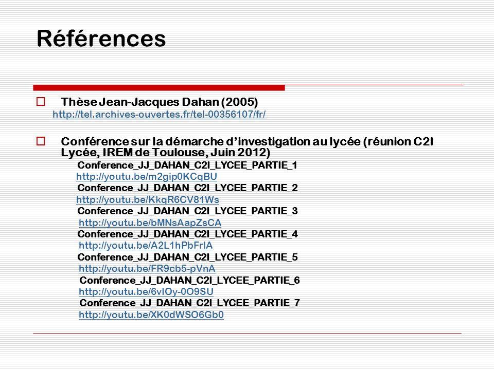 Références Thèse Jean-Jacques Dahan (2005) http://tel.archives-ouvertes.fr/tel-00356107/fr/ Conférence sur la démarche dinvestigation au lycée (réunio