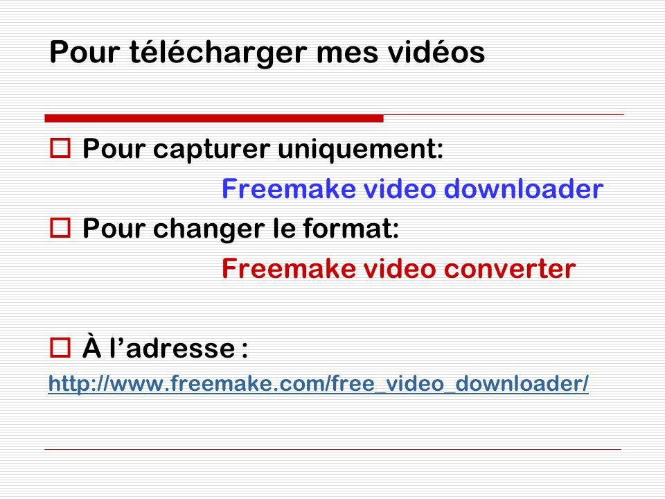 Pour télécharger mes vidéos Pour capturer uniquement: Freemake video downloader Pour changer le format: Freemake video converter À ladresse : http://w