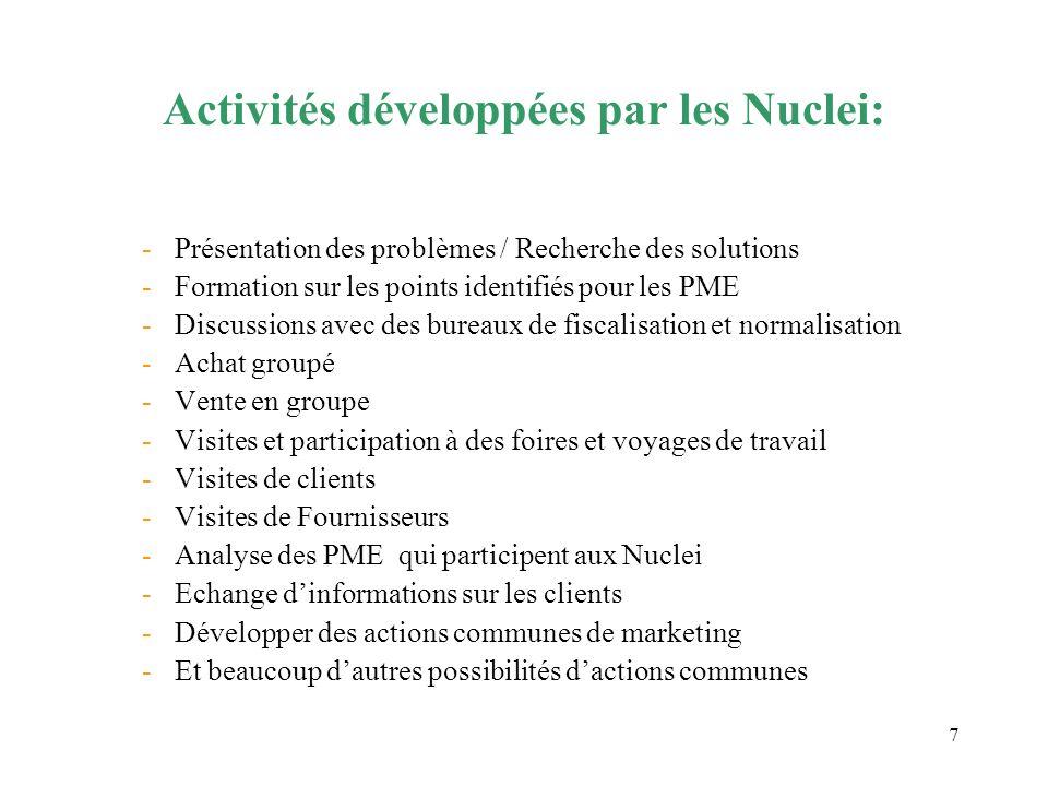 7 Activités développées par les Nuclei: -Présentation des problèmes / Recherche des solutions -Formation sur les points identifiés pour les PME -Discu