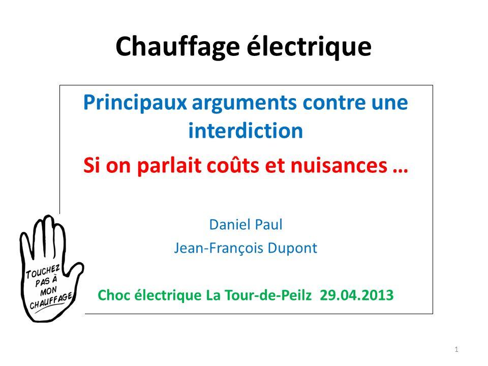 Chauffage électrique Principaux arguments contre une interdiction Si on parlait coûts et nuisances … Daniel Paul Jean-François Dupont Choc électrique