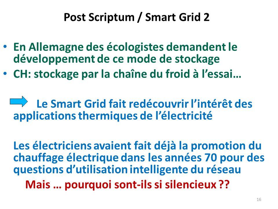 En Allemagne des écologistes demandent le développement de ce mode de stockage CH: stockage par la chaîne du froid à lessai… Le Smart Grid fait redéco