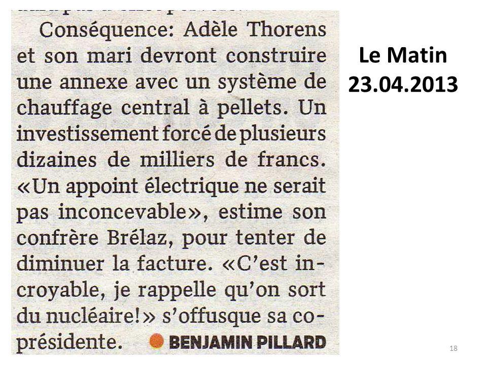 18 Le matin Le Matin 23.04.2013
