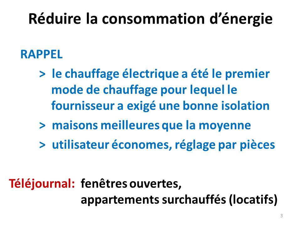 Réduire la consommation dénergie RAPPEL > le chauffage électrique a été le premier mode de chauffage pour lequel le fournisseur a exigé une bonne isol