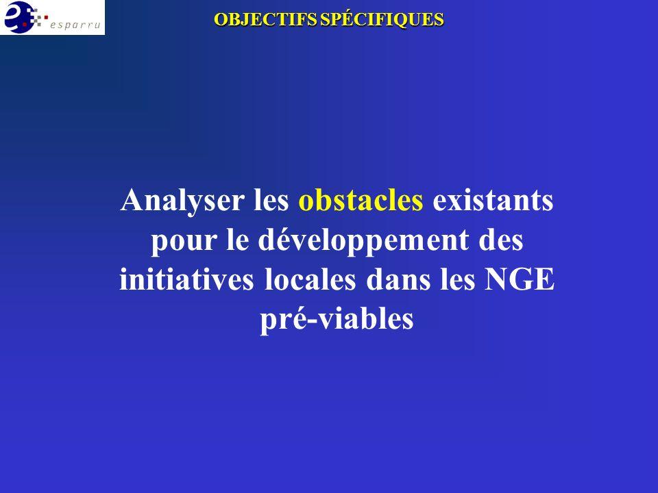 Analyser les obstacles existants pour le développement des initiatives locales dans les NGE pré-viables OBJECTIFS SPÉCIFIQUES
